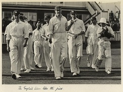 English cricket team at the Test match held at the Brisbane Exhibition Ground. England won the match by a record margin of 675 runs.