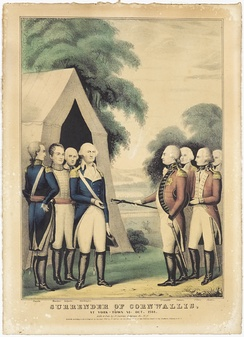 Surrender of Cornwallis. At York-town, VA Oct. 1781 by Nathaniel Currier (D'Amour Museum of Fine Arts)