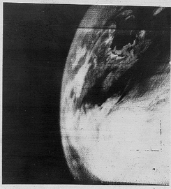 First television image of Earth from space, taken by TIROS-1. (1960)