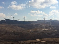 Partial view of the 117 MW Tafila Wind Farm in southern Jordan is the first and largest onshore wind farm in the Middle East.[193]
