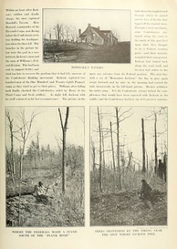 Lower right photograph of trees shattered by artillery shells near where Jackson was shot on the Orange Plank Road.