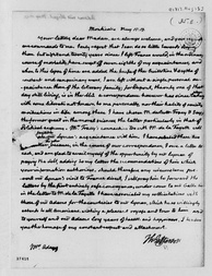 One of last letters sent by Thomas Jefferson at Monticello to Abigail Adams, May 1817