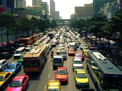 Traffic jams, seen here on Ratchadamri Road, are common in Bangkok.