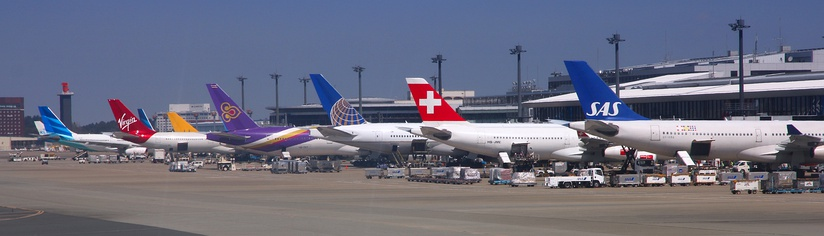 Wide body airliners of various airlines at Tokyo Narita Airport