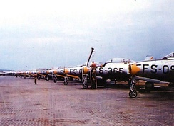 158th Fighter Squadron flightline at Tageu AB (K-2), South Korea June 1952.