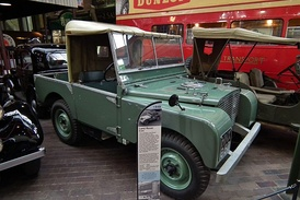 1948 Land Rover pre-production number R04; at the National Motor Museum in Beaulieu, Hampshire, England.