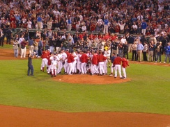 The Red Sox celebrate their clinching of the 2003 AL Wild Card with a victory over the Baltimore Orioles