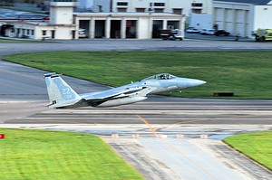 44th Fighter Squadron F-15C Eagle takes off at Kadena Air Base.jpg
