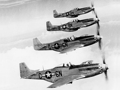 505th Fighter Squadron P-51 Mustang formation, 1945