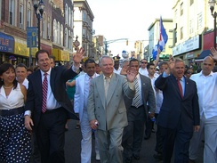 Menendez (second from right) marching in the North Hudson Cuban Day Parade with Union City Mayor Brian P. Stack (second from left), June 6, 2010