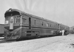 EMC 1800 hp B-B in the original Golden Olive scheme (1935)