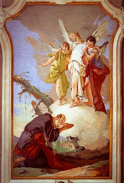 God reveals himself to Abraham in scripture and he is seen here with three angels. By Giovanni Battista Tiepolo.