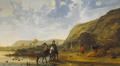 Aelbert Cuyp, River landscape with Riders (c. 1655); Cuyp specialized in golden evening light in Dutch settings.