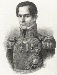 Lithograph depicting head and shoulders of a middle-aged, clean-shaven man wearing an ostentatious military uniform.