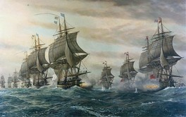 Two lines of warships at sea sailing with full sails downwind away from the viewer and firing broadsides at one another; in the center foreground receding into the left background, six of the French fleet; in the right foreground receding to the center four of the British fleet.