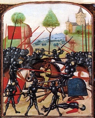 The Battle of Barnet, where Warwick was killed. Edward IV can be seen on the left, wearing a crown, Warwick on the right being pierced by a lance. In reality, Edward did not kill Warwick.
