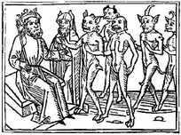 A woodcarving of Belial and some of his followers from Jacobus de Teramo's book Buche Belial (1473).