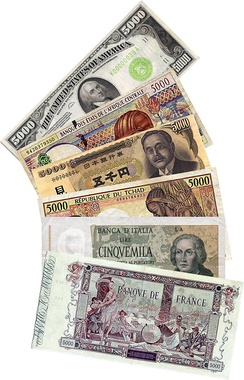 Banknotes with a face value of 5000 of different currencies.