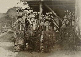 A troupe of Bahau Dayak performers during the Hudoq festival (Harvest festival) in Samarinda, the Residency of South and East Kalimantan, Dutch East Indies (present-day East Kalimantan, Indonesia). (Taken c. 1898–1900)