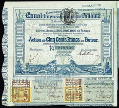 Share of the Compagnie Universelle du Canal Interocéanique de Panama, issued 29. November 1880 - signed by Ferdinand de Lesseps