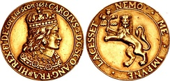Cast gold coronation medal of Charles II, dated 1651
