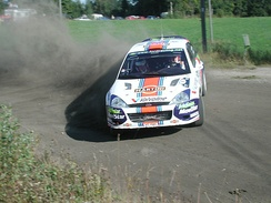 McRae with a Ford Focus WRC at the 2001 Rally Finland.