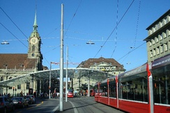 Tram station on the Bahnhofplatz, with the Heiliggeistkirche in the background