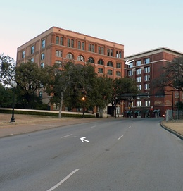 An aerial view of Dealey Plaza showing the route of President Kennedy's motorcade