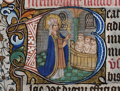 Saint Nicholas depicted in a 14th-century English book of hours