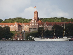 The second Gorch Fock in front of the Naval Academy Mürwik (Red Castle) in 2015