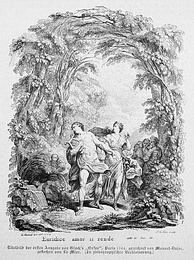 Orpheus leading Euridice from the underworldIllustration from the 1764 original edition of the score of Gluck's Orfeo ed Euridice