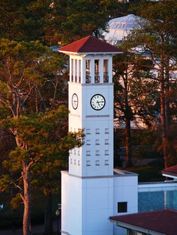 Clock tower at Cox Hall