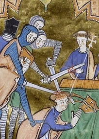 Mid-13th-century depiction of the death of Archbishop Thomas Becket