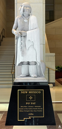 Statue of Popé, leader of the Pueblo Revolt. The statue, entitled Po'pay, is among two statues depicting New Mexicans at the United States Capitol National Statuary Hall Collection, the other being Dennis Chávez.