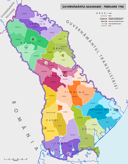 Administrative map of the Governorate of Bessarabia in February 1942