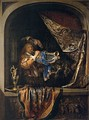 Trumpet-Player in front of a Banquet, Gerrit Dou, c.1660-1665