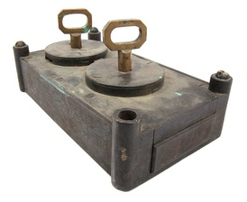 Vault lock and two keys from the National German American Bank in Saint Paul, Minnesota, 1856