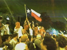 A spontaneous celebration on the drag after a Longhorns victory over Ohio State University.