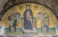 Constantine I and Justinian I offering their fealty to the Virgin Mary inside the Hagia Sophia
