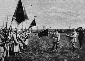 General Józef Haller (touching the flag) and his Blue Army