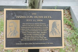 Historical marker of the Burr-Hamilton duel in Weehawken