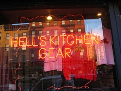 Hell's Kitchen gear for sale in the Video Cafe on Ninth Avenue (shop closed in January 2014)[68]