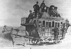 A horse-drawn tram operated by Swansea and Mumbles Railway, 1870. Established in 1804, the railway service was the world's first.