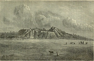 "The Troy ridge, 1880, sketched from the plain below. This woodcut is published in some of the works of Schliemann. He describes the view as being ""from the north,"" necessarily meaning from the northwest. Only the west end of the ridge is visible. The angular appearance is due to Schliemann.s excavations. The notch at the top is ""Schliemann's Trench."" For much of Troy's archaeological history, the plain was an inlet of the sea, with Troy Ridge projecting into it, hence Korfmann's classification of it as a maritime city."