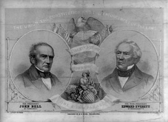A Constitutional Union campaign poster for the 1860 election in which are shown John Bell (left), the presidential nominee; and Edward Everett, the vice presidential nominee