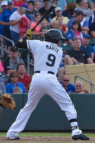 Marte batting during the 2015 Triple A All-Star game