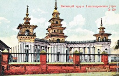 The Khoshutovsky Khurul was built by Prince Tyuman of the Khoshut tribe to honor the participation of Kalmyk cavalry in the War of 1812. Under Soviet rule, hundreds of temples were destroyed. The Khoshutovsky Khurul stands in ruin today.[31]