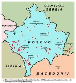 Map showing sites in Kosovo and southern Central Serbia where NATO used munitions with depleted uranium