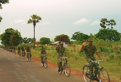 An LTTE bicycle infantry platoon north of Kilinochchi in 2004
