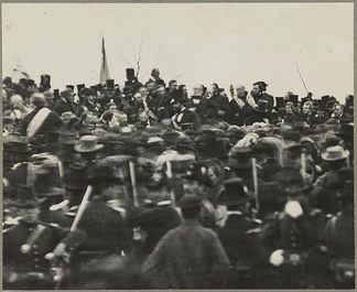 The only confirmed photo of Abraham Lincoln at Gettysburg, some three hours before the speech